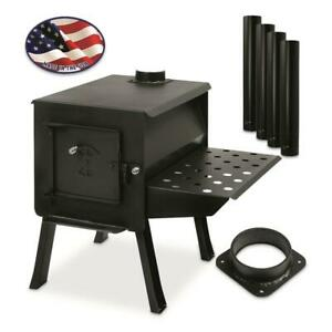 Grizzly Camp Stove Kit Portable Efficient Wood Stoves Heavy-duty 12-gauge Steel