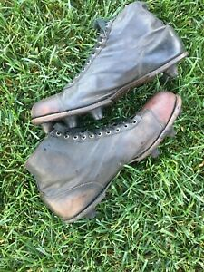 Antique RARE 1920's AG SPALDING Shank Spike ALL Leather VINTAGE Football Cleats