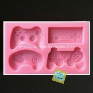 Video game controls, 4 cvts. silicone mold. For fondant, chocolate, resin, clay