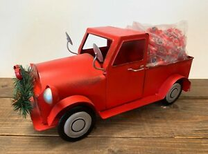 15quot; L Metal Red Truck Vintage Style Pickup Decor w Jolly Rancher Fire Candy $23.50