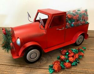 15quot; L Metal Red Truck Vintage Style Pickup Decor w Strawberry Bonbon Candy $22.50