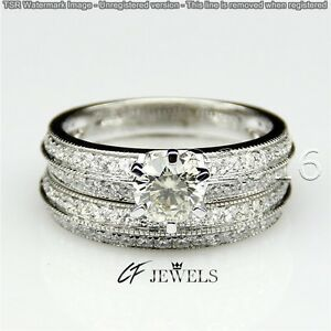 Pretty 1.89CT Off White Yellow Real Moissanite Ring Wedding 925 Silver Ring 00