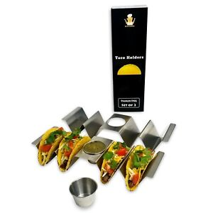 SALE Bear Dining Premium Stainless Steel Taco Holder with Sauce Cup Set of 2