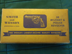 "Vintage Original Smith & Wesson Gold Picture Box Military & Police 38 2"" Barrel"