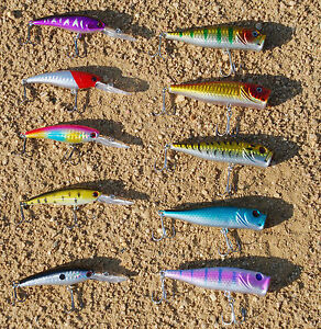 Lot of 10 Fishing Lures Pike Crankbait Bass Swimbait Topwater Poppers