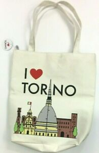 I Love Torino Italy Tote Reusable Shopping Canvas Bag Gift Fully Lined Lunch