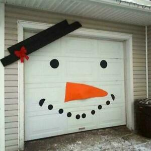 Christmas Garage Door Covers DIY Snowman Old Man Elk Bow Hat Outdoor Decor US