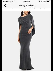 Betsy amp; Adam Black Silver Designer Evening Dress Size 8