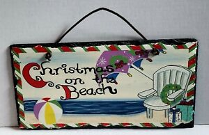 VINTAGE CHRISTMAS SLATE Sign - Christmas on the Beach 11.75