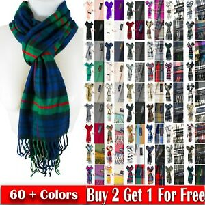 Winter Unisex 100% Cashmere Plaid Scotland Made Solid Striped Scarves Wool Scarf $6.99