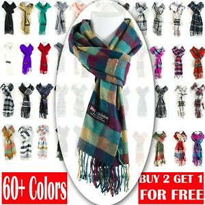 Winter Unisex 100% Cashmere Plaid Scotland Made Solid Striped Scarves Wool Scarf $7.49
