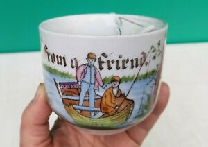 Antique FROM A FRIEND Hand Painted MEN FISHING BOAT Mustache Cup coffee mug $195.00