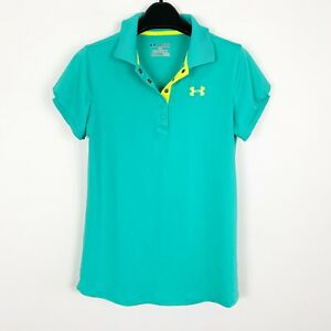 Under Armour Performance Girls Tennis Golf Polo Shirt Short Sleeve Teal Green XL