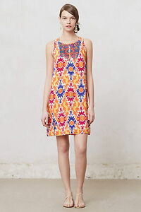 Anthropologie Printed Silk Dress Sequined Kaleidoscope Shift Sundress, Size 2