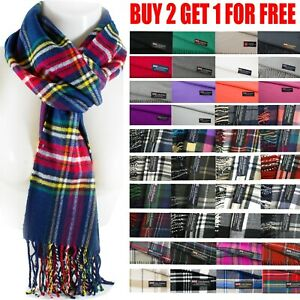 Mens Womens Winter Warm SCOTLAND Made 100% CASHMERE Scarf Scarves Plaid Wool $6.99