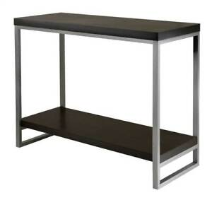 Jared Console Table w Enamel Steel Tube in Espresso [ID 94082]
