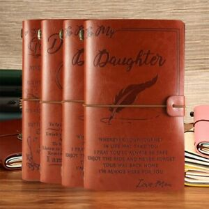 To My Granddaughter Daughter Love Mom Dad Engraved Leather Journal Notebook Gift