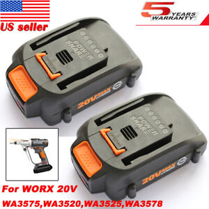 2X For WORX WA3525 PowerShare 20V 2.0Ah Lithium Ion Battery WA3575 WA3520 WA3578