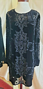 Cache Womens Designer Evening Shift Dress Size 10 Velvet Lace Black