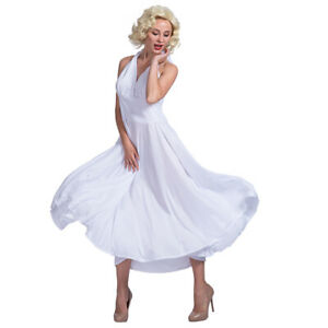 Marilyn Monroe Sexy White dresses Costume Cosplay Party Fancy Dress One Size US