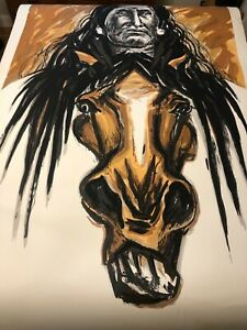 """Marisol Escobar Americana Giant Lithograph of Horse  Signed 1992  89""""x60"""" $799.00"""
