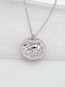 925 Sterling Silver Horoscope Leo Pendant Necklace 15mm $23.00