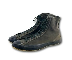 Vintage 40s 50s USA Converse Black Canvas High Hi Top Sneakers Sz 10 Wrestling