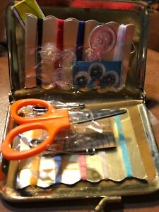 """Vintage SEWING KIT Black CASE Leather Small Pocket Purse 2 1 2"""" By 3 1 2"""" $11.50"""