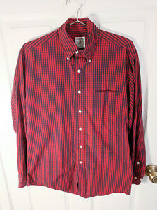 Brooks Brothers Sport Shirt Red Checkered Long Sleeve Button Down Shirt Mens S