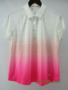 UNDER ARMOUR WOMEN'S LOOSE WHITE  & PINK POLY SPANDEX POLO GOLF TOP SHIRT  LG