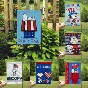 Decor Snoopy America Flags Signs Outdoor Banner/Flag Double Sided Garden Flags