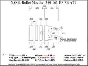 Bullet Mold 4 Cavity Brass .360 caliber Plain Base 163 Grains bullet with a Sem