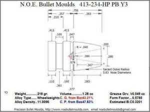 Bullet Mold 4 Cavity Brass .413 caliber Plain Base 234 Grains bullet with a Lon