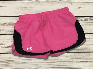 Under Armour Youth Girls YXL Pink Black Athletic Running Gym Shorts Loose Fit