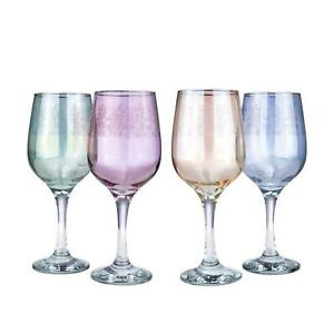 Italian Collection Crystal 15 Oz 'Pastel' Multi Colored Wine Goblet Glasses 4-pc