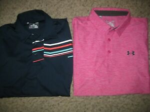 2-Lot Under Armour Loose Heat Gear Men's Polo Shirts L Casual Dress Lounge Club