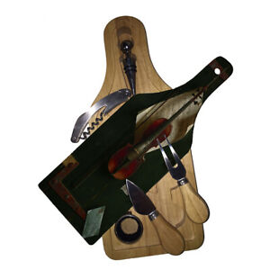 Cutting Board Wine and Glass Cheese Board Gift Set Harnett The Old Violin