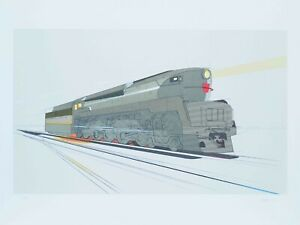 Signed Raymond Loewy T-1 Locomotive Lithograph 1978