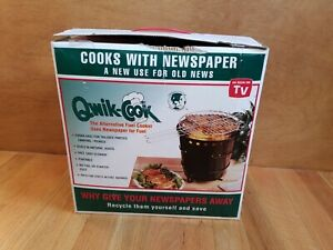 NEW SAFARI QUIK-COOK ROUND TAILGATE  SPORTS BBQ GRILL PORTABLE BURNS NEWSPAPER