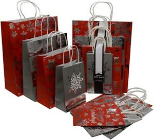 20 Pk Christmas Gift Bags In 4 Assorted Sizes S,M,L,XL Kraft Paper & Metallic