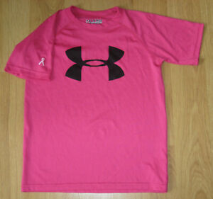 UNDER ARMOUR Girls-Boys Size XS Youth T-Shirt Pink Breast Cancer Short Sleeve UA