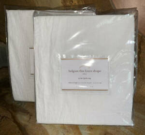 New~2 Pottery Barn Belgian Linen Flax Drapes~50x84~White