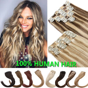 CLEARANCE 100% Remy Human Hair Extensions Clip In Real Hair Weave Full Head Ashy $16.65