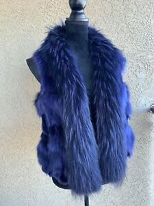 $850 Raccoon & Fox Fur Designer Woman Vest Winter Jacket Coat Size S-M
