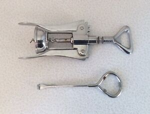 Lot 2Pcs Vtg Italy Stainless Steel Corkscrew & Tru Test Paints Beer Can Openers