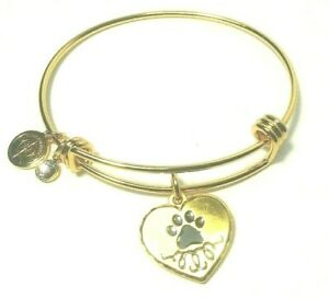Halos amp; Glories by Alex and Ani Gold Paw Prints Pet Charm Bangle Bracelet $13.97