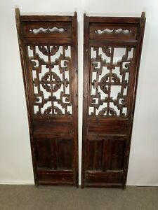 Pair 2 Antique Chinese Wood Handmade Carved Window Shutters $208.00