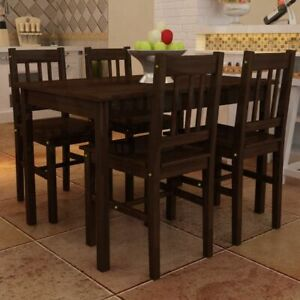 Wooden Dining Table with 4 Chairs Brown $302.51
