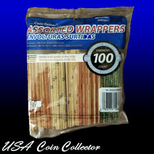 100 Assorted Flat Paper Coin Wrapper Tubes Penny, Nickel, Dime