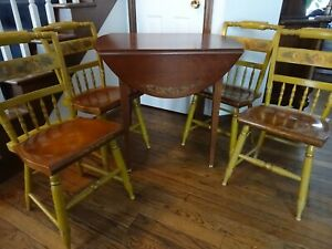 Vintage Hitchcock Furniture Dining Set Drop Leaf Table and Four Chairs